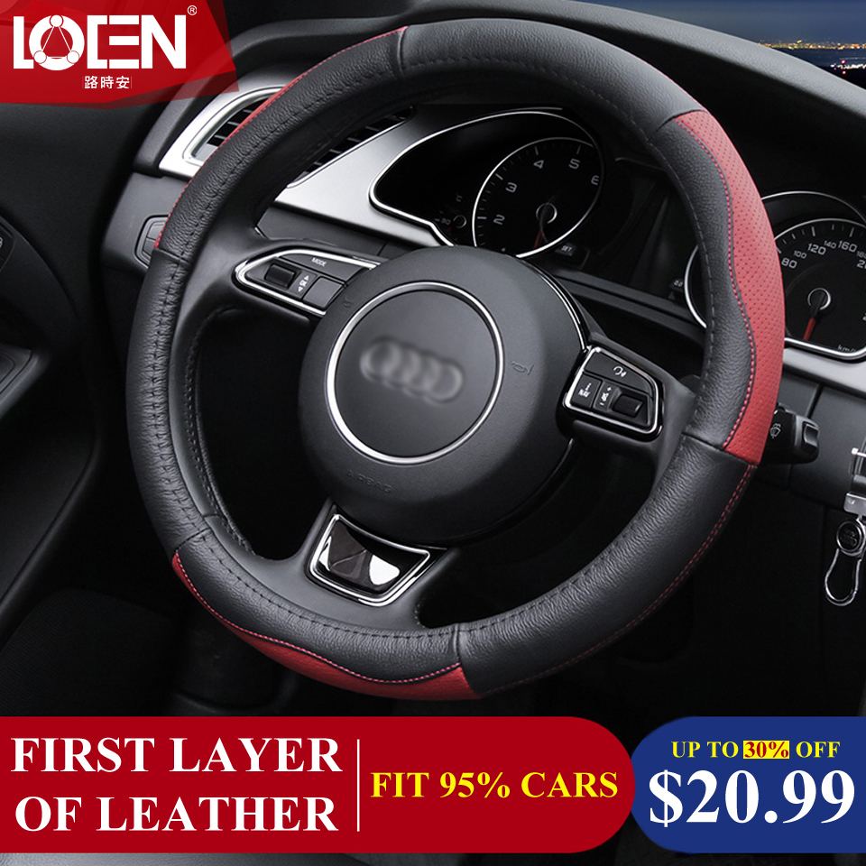 High Quality Cowhide Genuine Leather Hand-stitched Car Steering Wheel Cover Breathable and Anti-slip Fit for 95% Cars Styling(China (Mainland))