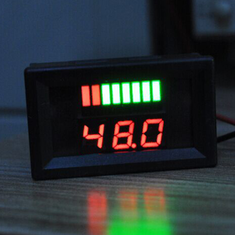 Red Charge Level Indicator Battery Capacity Tester Dual Display LED Digital Voltmeter For 48V Red Lead-acid Lithium Battery(China (Mainland))