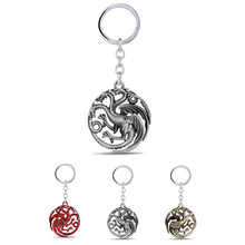 A Song of Ice and Fire Jewelry House Targaryen Three Fire Dragon pendant Keychain Game of thrones Keyrings men Key Accessories