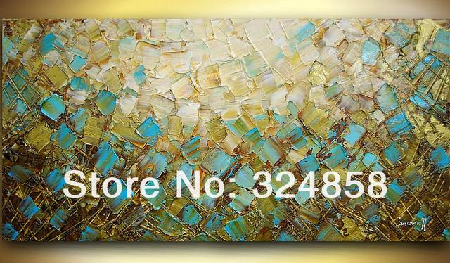 Handmade artwork blue brown rectangle landscape oil painting on ...
