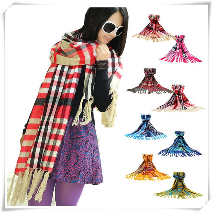 Sali 2016 Newly Design Fashion Women s font b Tartan b font Scarf Shawl Tassels Knitting