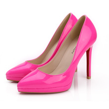 Free shipping new 2015 sexy black neon color high heel women pumps patent leather shoes stiletto heels 11cm red sole heels L51