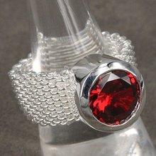 925 серебряных ювелирных изделий, Красный циркон круг, Серебряное кольцо обручальное кольцо обручальное кольцо обручение R083(China (Mainland))