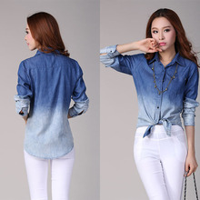 New Hot Selling Women Fashion Gradient Denim Blouses Ladies Long Sleeve Jeans Shirt Tops Blue Blouse S-XL(China (Mainland))