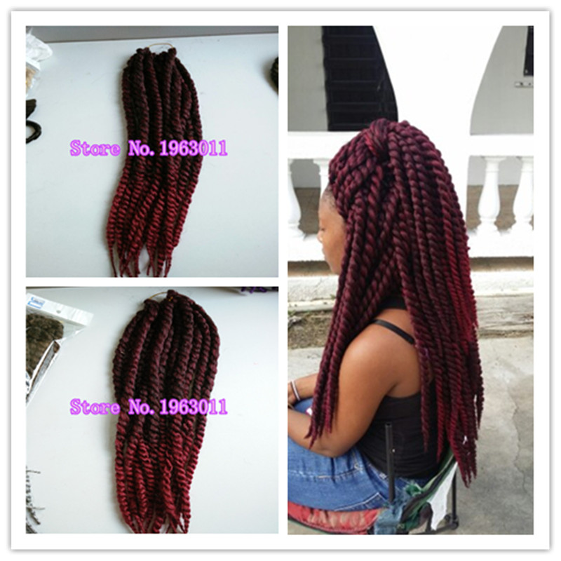 two colored synthetic braiding hair 1b/RED ombre colors havana jumbo twist for braiding for 5 pieces/lot<br><br>Aliexpress