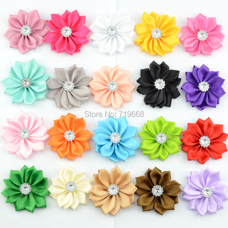 2015 New Arrival!!! 40pcs/lot 20colors 5cm handmade satin ribbon flower for baby girl children kids headband hair ornaments(China (Mainland))
