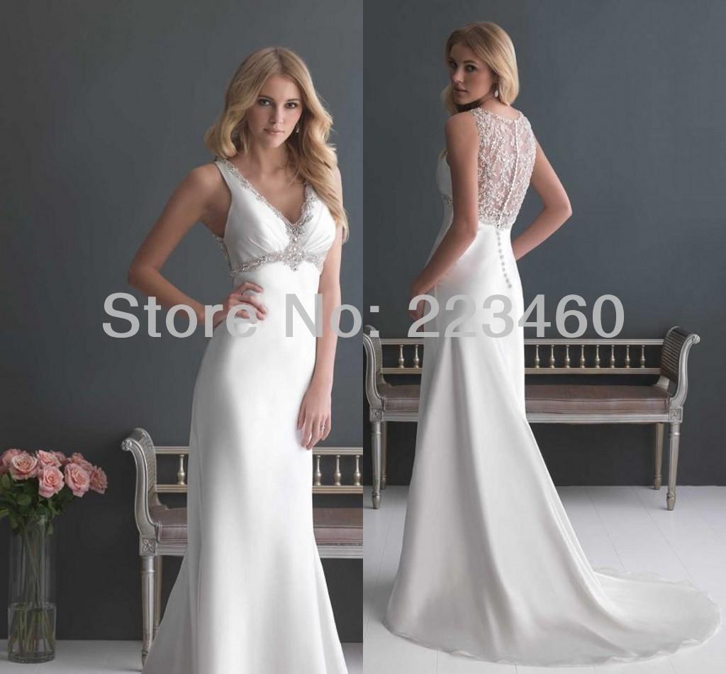 2013 new white ivory v neck train wedding dress dresses for Size 8 wedding dress measurements