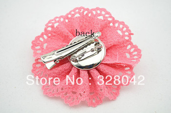Hot sale girl DIY rosetted handmade beauty silk rose puff flowers clip eyelet flowers hairpin accesories 100pcs/lot