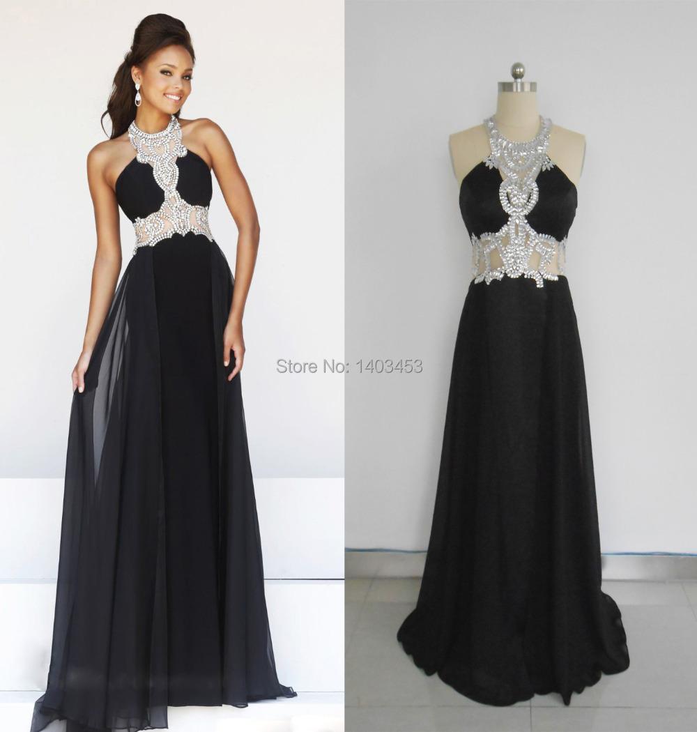 Real Picture Halter Beaded Crystal Neckline Black Sheer Backless Chiffon Long Evening Party Dress Vestidos De Fiesta(China (Mainland))