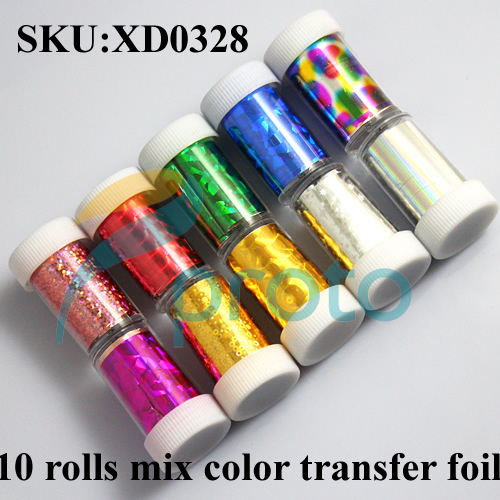 Freeshipping- New Fashion 10 Rolls Mix colors Nail Art Transfer Foil Set Nail Tip Decoration Set Dropshipping SKU:XD0328