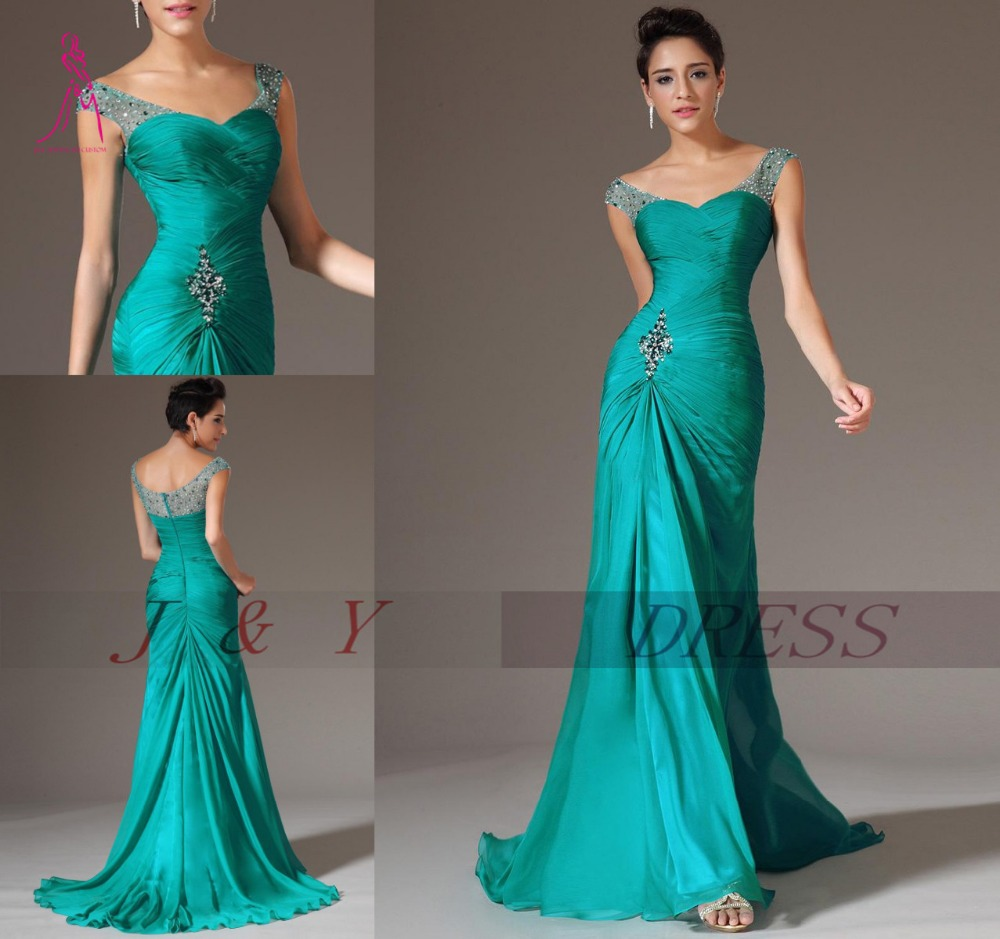 J Y Best Selling Mermaid Long Green Evening Dress Chiffon Pleat V Neck Prom Dresses Elegant