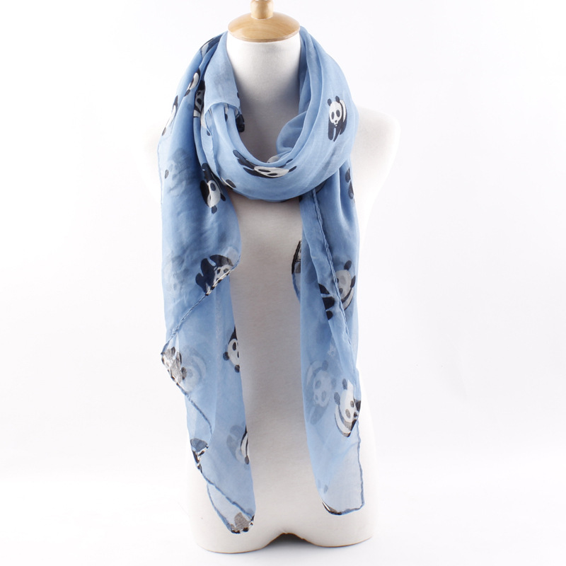 180*90 cm Women's Fashion Scarves Panda Printed Large Long Voile Scarf Women Female Shawl Wrap Beach Cover Ups(China (Mainland))