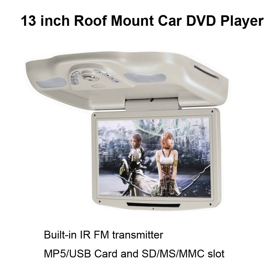 13 Inch Roof Mount Car DVD Player with built-in IR FM transmitter and MP5/USB Card and SD/MS /MMC Slot(China (Mainland))