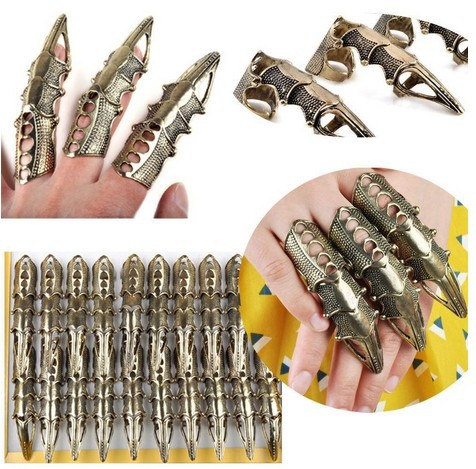 New 20pcs Wholesale Gothic Punk Hinged Knuckle Full Finger Armor Rings Claw Party Jewelry Free Ship(China (Mainland))