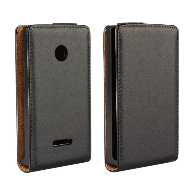 50 pieces/lot Vintage Vertical Flip Magnetic Cover Genuine Leather Original Mobile Phone Case For Microsoft Nokia Lumia 435 Case