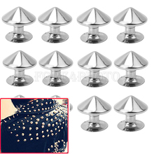 100Pcs Silver Metal Cone Round Studs Rivets Screwback Spikes Studs Punk Studs Rivets Bracelet Leather Bag Cloth Shoes CF00254 S3(China (Mainland))