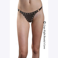 Sexy adjustable leather thongs rivet studded open front chain G string women sexy lingerie fetish