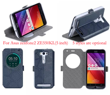Phone cases for Asus Zenfone 2 Laser Case Sand-like Smart View Window Leather Cover for Asus Zenfone 2 Laser ZE500KL (5 inch)(China (Mainland))