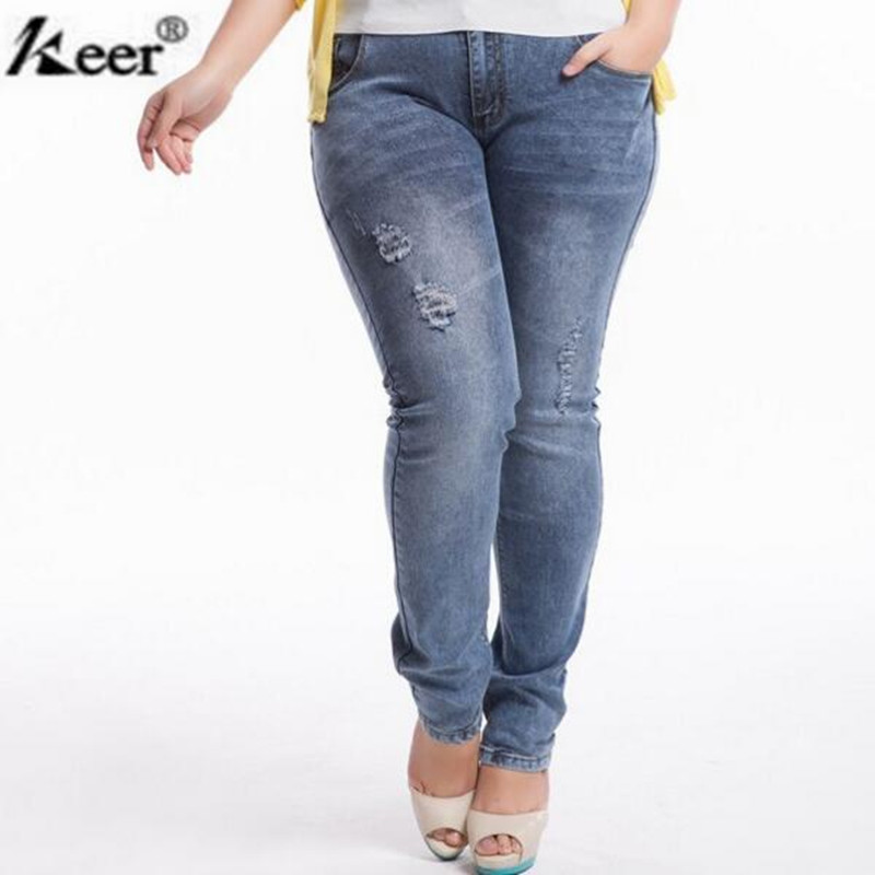 Women Jeans Large Size Mid-Waist Autumn 2016 Blue Elastic Long Skinny Slim Trousers Ripped 32-42 - Tracy Fashion Mall store