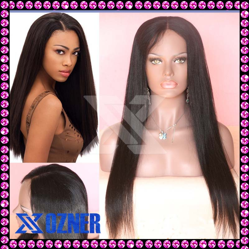 Wholesale Price ! Yaki Straight Virgin Human Hair Wigs Glueless Full Lace Wigs With Baby Hair Human Lace Wig Cap Bleached Knots(China (Mainland))
