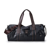 high quality brand men leather travel bag men's vintage duffel bag large capacity gym bag shoulder strap outdoor sport tote 696t(China (Mainland))