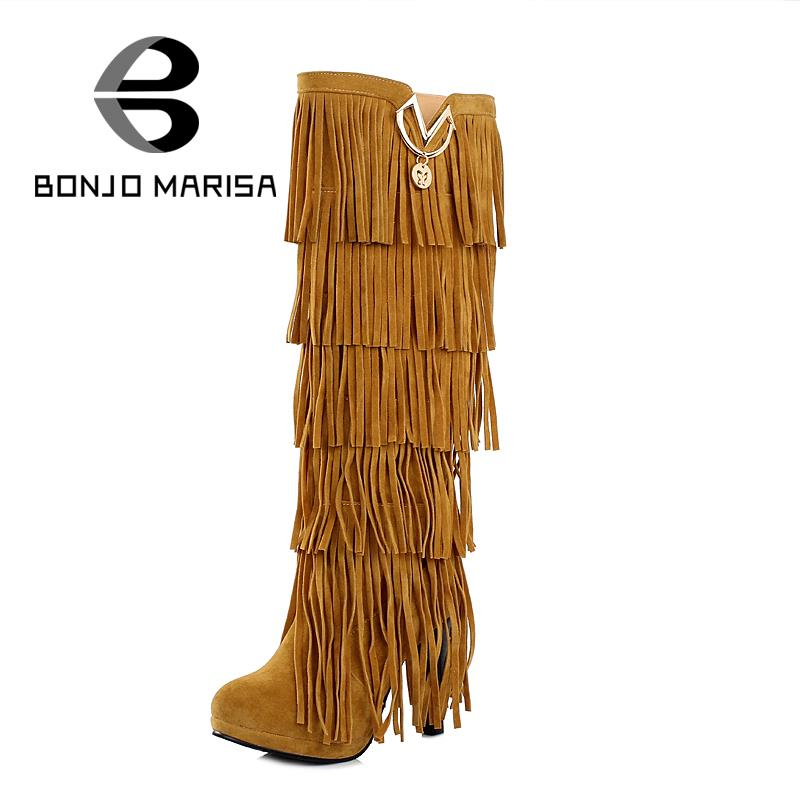 2015 new design knee high tassel boots Thick high heels boots Metal charm Autumn Winter Shoes for Women Boots Big size 32-43