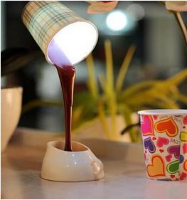 10Pcs/Lot, New Fashion 8 LED Novelty Coffee Cup Lighting Desk Lamps Table lamp Art Light For Reading of Stady BY DHL FEDEX(China (Mainland))