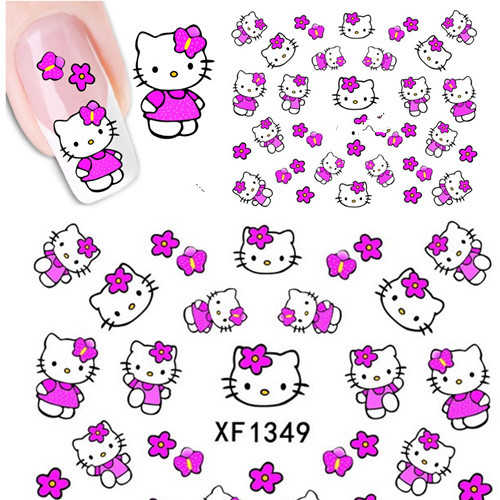 1 Sheets Hello Kitty Nail Stickers 3D Water Transfer Nail Art Sticker Decal Cartoon Cat Sticker Design Foil Adhesive Nail Foil(China (Mainland))
