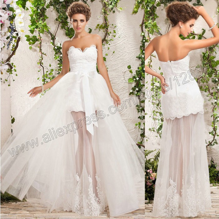 White lace tulle sweetheart detachable skirt wedding dress for Wedding dress removable skirt