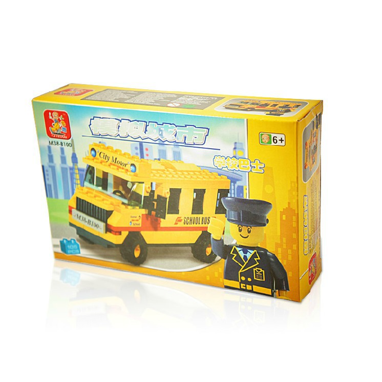 Brand New High Quality ABS School Bus Brick Toys Kids Educational Building Blocks Set of 105 Pieces