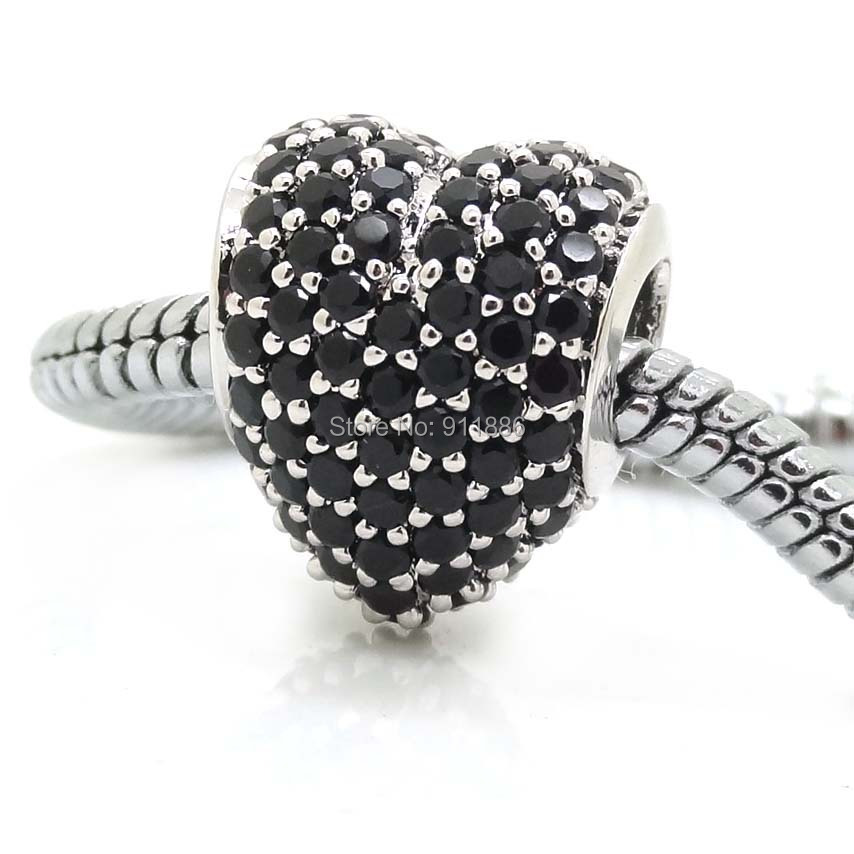 Fits Pandora Bracelet DIY Making Authentic 100% 925 Sterling Silver Original Beads Black Zircon Heart Charm Women Jewelry 2014(China (Mainland))