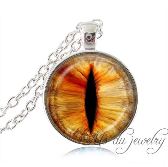Wholesale yellow orange dragon cat eye pendant necklace art photo eye jewelry silver plated pendant glass cabochon necklace(China (Mainland))