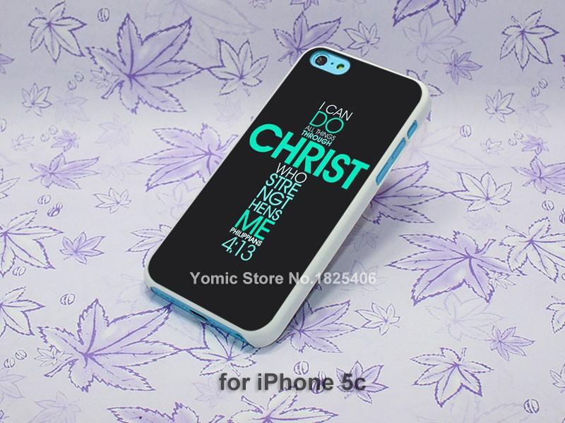 Bible Philippians Jesus Christ Christian Design hard White Skin Case Cover for iPhone 4 4s 4g 5 5s 5c 6 6s 6 Plus