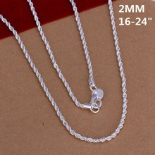 New Listing Hot selling 925 sterling silver 2MM shiny Twisted Rope Necklace Fashion trends Jewelry Gifts
