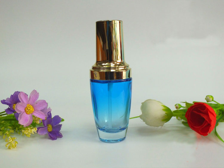 30ML blue  glass bottle with gold press pump for serum/lotion/emulsion/essence/foundation/gel/eye cream cosmetic packing <br><br>Aliexpress