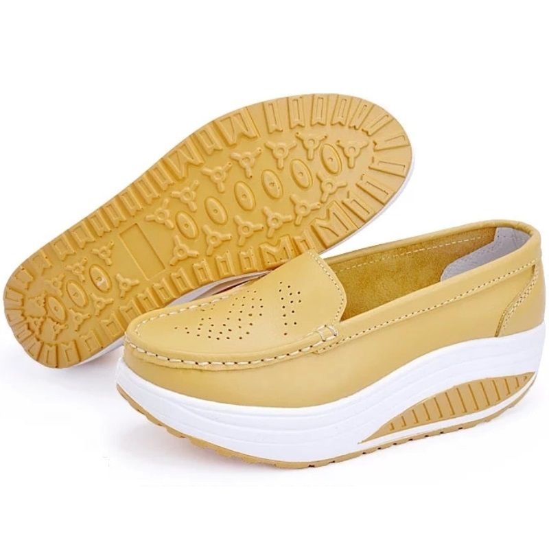 Swing shoes female sport shoes nurse shoes spring and summer white wedges genuine leather flat platform plus size single shoes<br><br>Aliexpress