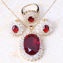 Glam Luxe Mysterious 18K Yellow Gold Plated Ruby Pendants/Ring/Earring jewelry Sets T004(China (Mainland))