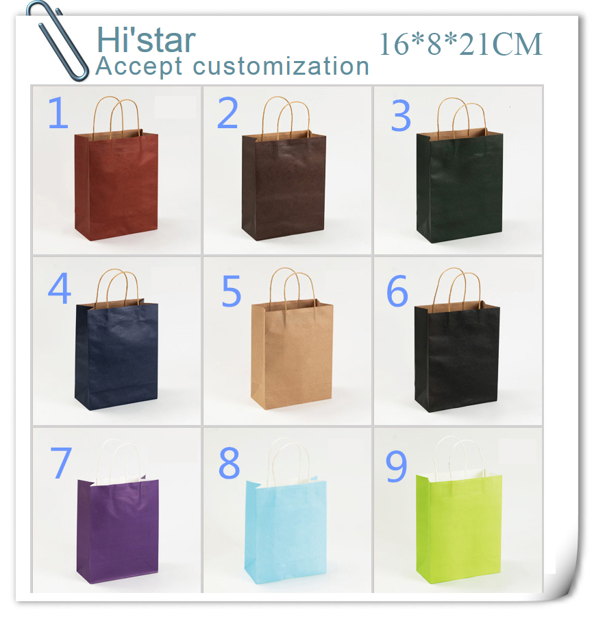 16*8*21cm 20pcs Factory Sale Custom Gift Luxury Recycle Printed Art Brown Kraft Shopping Paper Bag(China (Mainland))