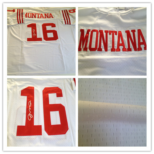 16 Joe Montana jersey,White Throwback Signed Elite mens football jersey,Best quality,Embroidery Logo,Free shipping(China (Mainland))