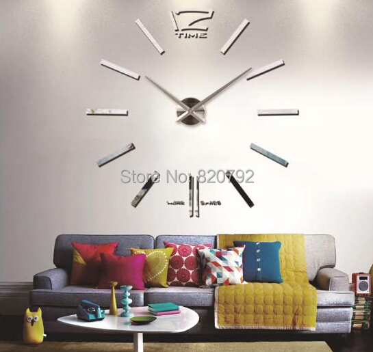 120cm*120cm Large Mental 3D Big Size Home Decor Sticker DIY 3D Wall Clock Home Decoration Mirrors Face Large Art Hours gift(China (Mainland))