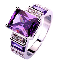 2015 nova grátis frete moda Popular decente roxo ametista 925 anel de prata tamanho 6 7 8 9 10 11 12 jóias para atacado unisex