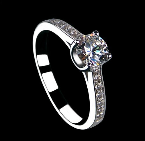 Custom Jewelry 0.5CT Moissanite Real Solid 14K White Gold Engagement Paved Jewelry Synthetic Diamond Genuine Gold Ring Drop Ship(China (Mainland))