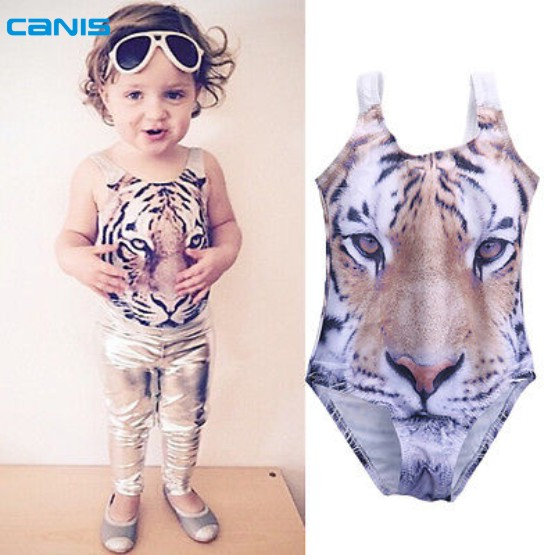 Baby Girls 3D Swimsuit Tiger Design One piece Girls Swimwear 1 6Yrs Infant Toddler Girls font