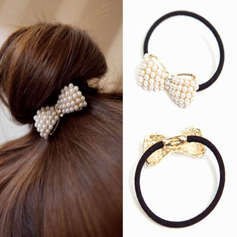 Cute Hair Hoop Small Baby Bow Butterfly Shape Beautiful Faux Pearl Hair Accessories Elastic Hair Bands Jewelry Women GF2015018(China (Mainland))