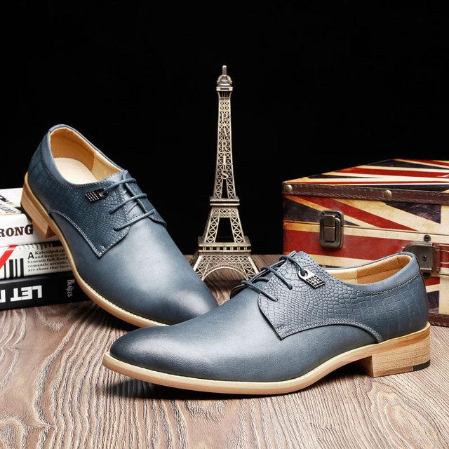 Весна 2016 итальянский дизайнер формальные мужские туфли из натуральной кожи основные ...