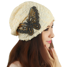 Brand new Women's Winter hat 2015 fashion Lace Butterfly Beanie Lady Skullies Turban Cap(China (Mainland))