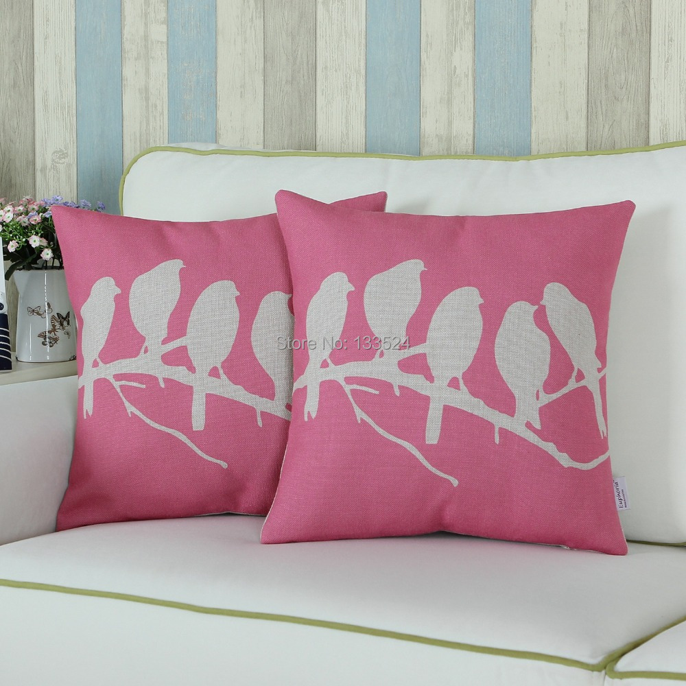 Set of 2 Cushion Cover Decorative Pillows Shell Beauty Cut Pink Birds Shadow 18 X 18