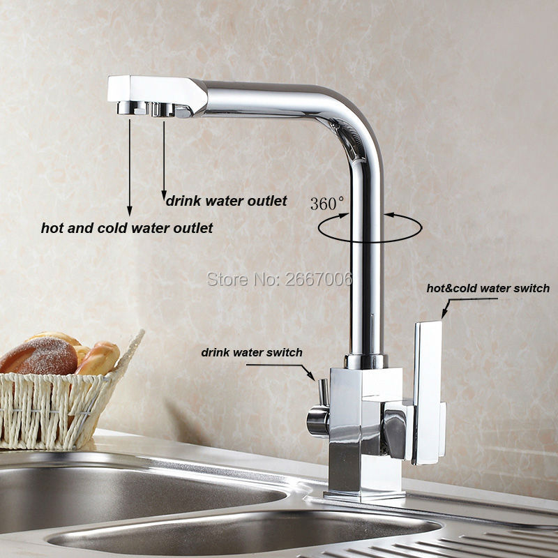 free shipping drink water faucet kitchen sink mixer tap chrome brass taps dual handle water crane - Kitchen Sink Drink