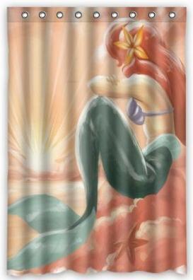 Generic Custom Pink Painting Beautiful Mermaid Printed Waterproof Shower Curtain 48 inch(w) x 72 inch(h) Inches - Op90 store