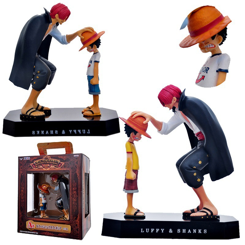 One Piece action figures font b Anime b font Straw Hat Luffy Shanks red hair ornaments